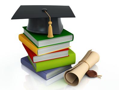 Graduation mortar on top of books